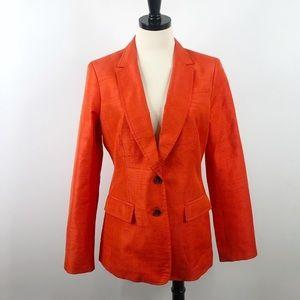 Banana Republic Orange Silk Blend Textured Blazer